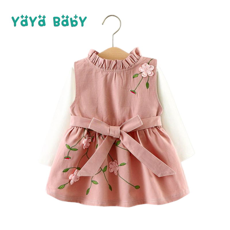 Flower Girls Dress 2018 New Summer Autumn Kids Clothes for Girls Cotton Shirts + Sleeveless Dress 2pcs Children Clothing