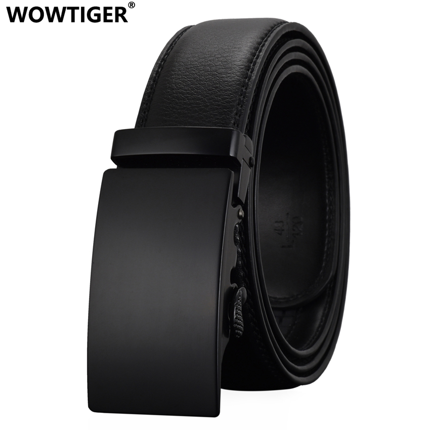WOWTIGER Fashion Designers Men Automatic Buckle Leather luxury Belts Business Male Alloy buckle Belts for Men Ceinture Homme