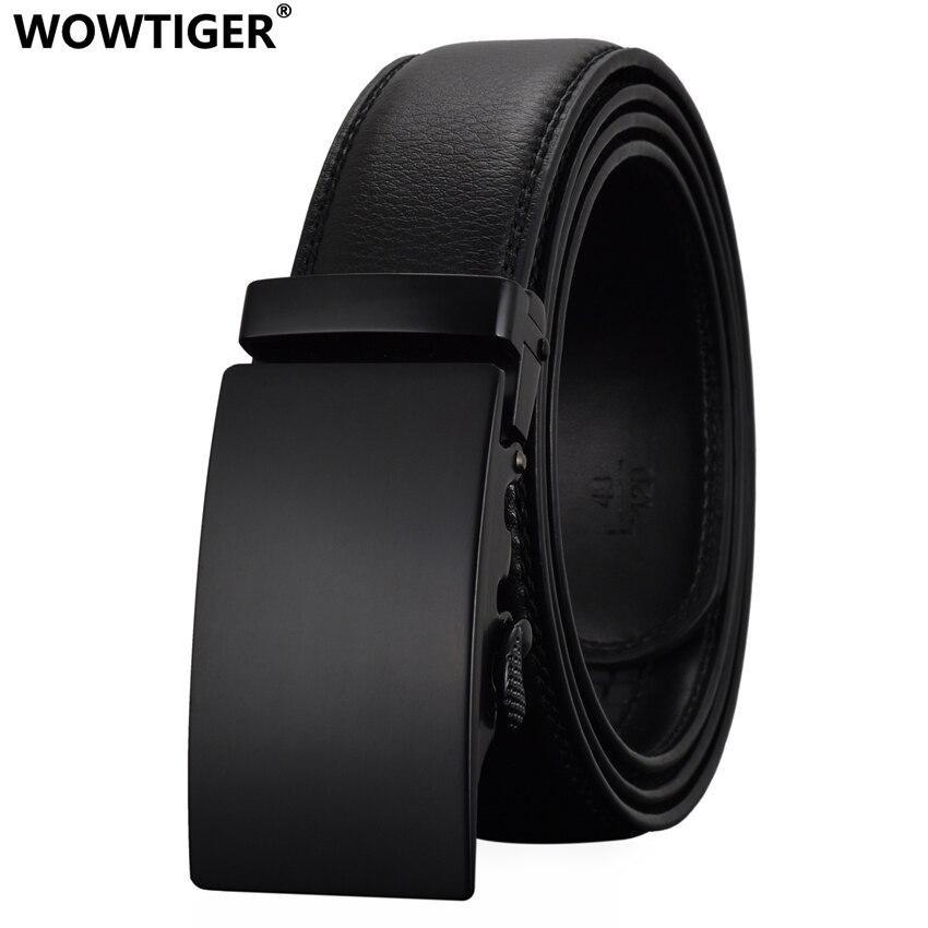 WOWTIGER diseñadores de moda hombres hebilla automática de cuero cinturones de lujo negocios hombres de aleación hebilla cinturones para hombres Ceinture Homme