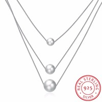 Three Chain Simulated Pearl Necklace Colar De Plata 925 Sterling Silver Choker Fine Jewelry 3pcs AAA