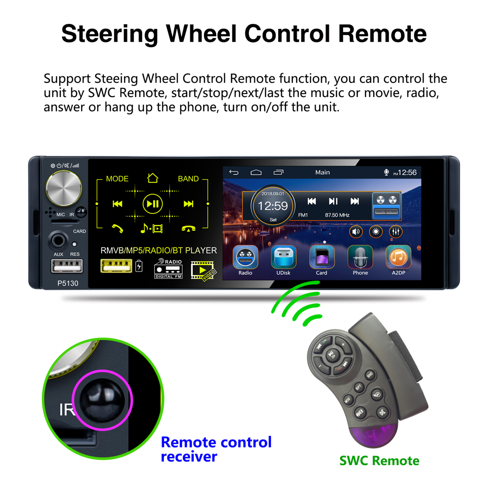 """Image 5 - Podofo Car Radio 4.1"""" HD Autoradio Multimedia Player 1DIN Touch Screen Auto audio Car Stereo MP5 Bluetooth RDS Dual USB Micphone-in Car Radios from Automobiles & Motorcycles"""