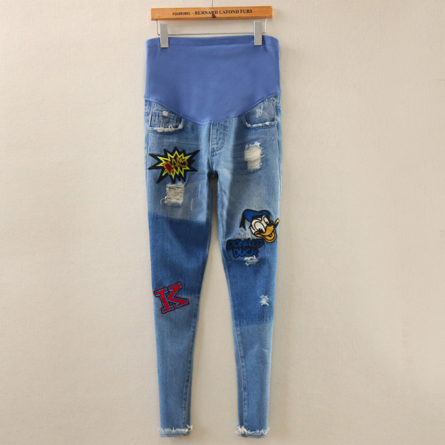 2016 Fashion Spring And Autumn Duck Letter Pregnant Woman Maternity Hole Denim Jeans Trousers