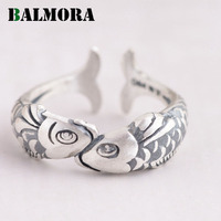 BALMORA New Lovely Animal Ring 100 Real 990 Pure Silver Jewelry Lovely Opening Fish Rings For
