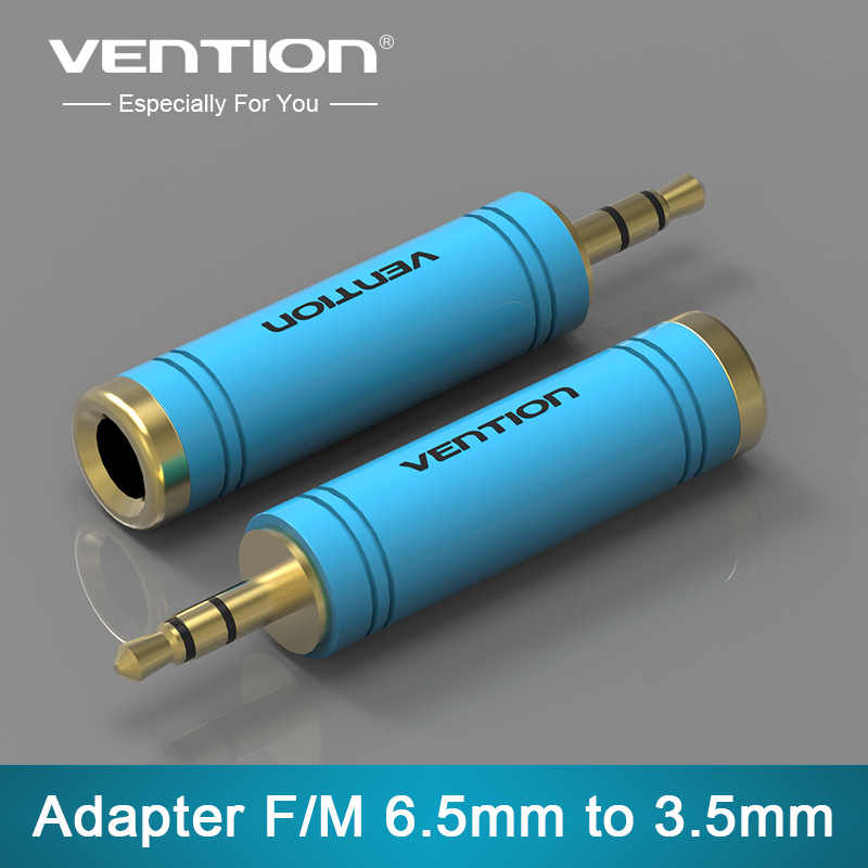 Vention novo 1 pçs ouro 3.5mm macho para 6.35mm fêmea adaptador de áudio jack estéreo conversor cabo para microfone 1pc