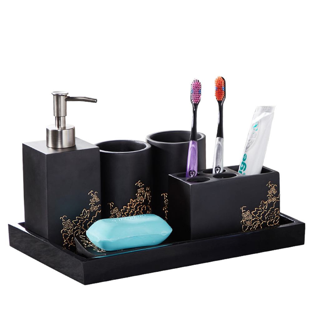A1 Nordic modern minimalist toothbrush holder bathroom set bathroom five-piece wash set LO728528 simple bathroom ceramic wash four piece suit cosmetics supply brush cup set gift lo861050