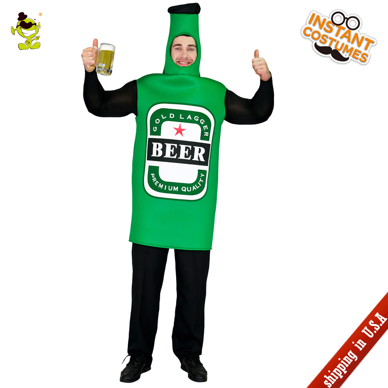 QLQ New Arrival Men's Beer Costumes Performance Halloween  Party Role Play Green Jumpsuit Imitation Parties Beer Clothing Adults
