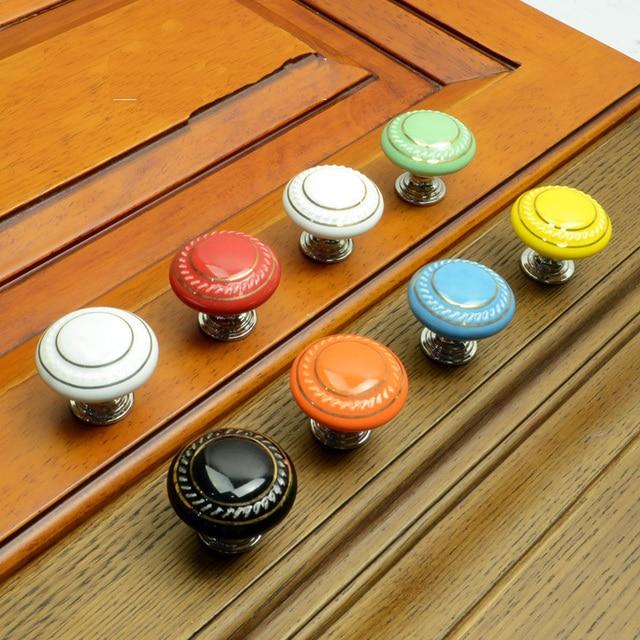 Retro Style Kitchen Cupboard Door Pull Handles Ceramic Drawer ...