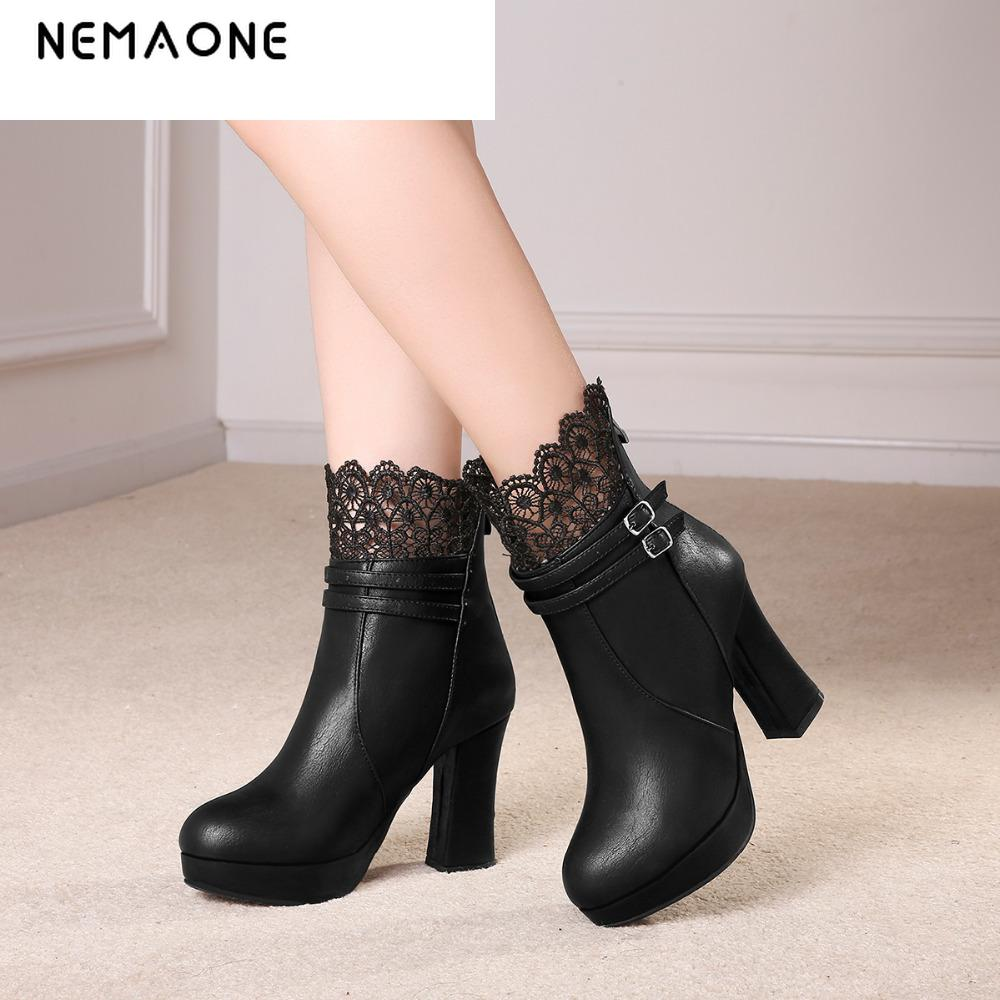 NEMAONE 2017 fashion women autumn winter ankle boots high heels women's shoes women boot sexy party boots large size 34-43