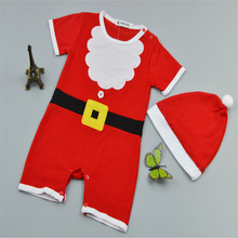 fashion Infant Baby Christmas Rompers Short Sleeve Boys Girls New Jumpsuit Children Clothing Set Romper+Hat