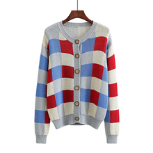 2018 Autumn New Fat mm Large Size Women's Sweet Contrast Color Round Neck Knit Cardigan Jacket Casual Fashion Sweater