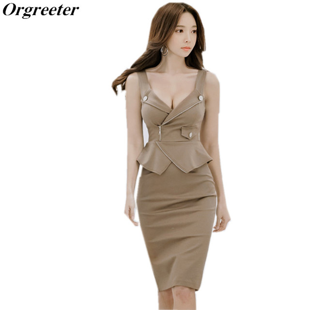 ac7fd08b0e81 Orgreeter Korean Summer Sleeveless Slim Dress Sexy Deep-v Strapless Knee-length  Dress Fitting cut Office Lady Work Wear Dress
