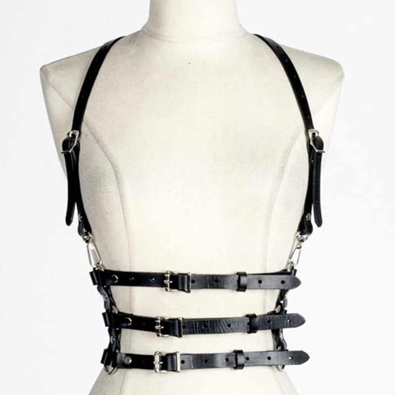 ملابس داخلية نسائية مثيرة بحزام رباط أسود قابل للتعديل حزام عبودية بدسم الوثن التأثيري حزام السيف القوطي هاراجوكو