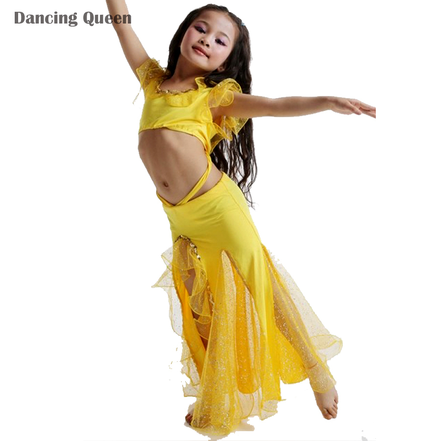2016 New Girls Belly Dance Costume 2 Pcs Top*Skirt Kids Bollywood Costumes Red/