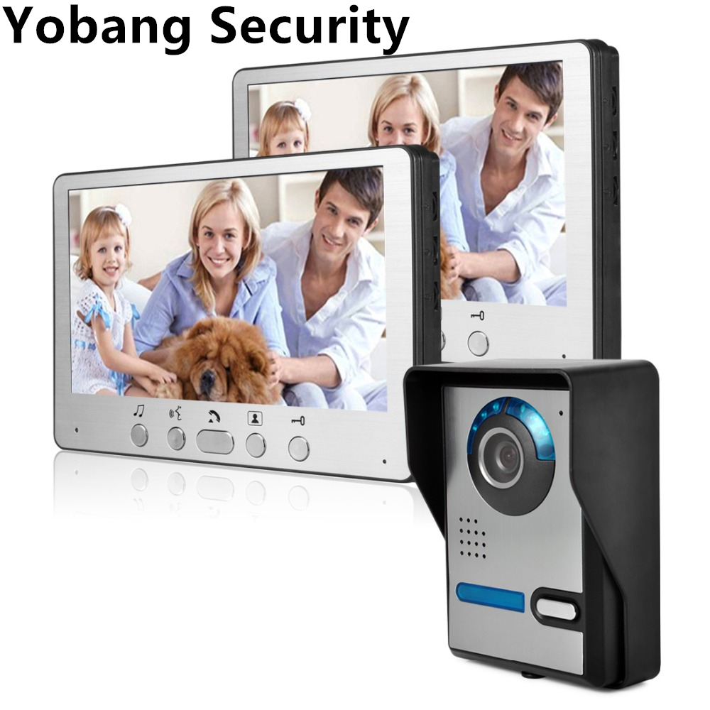 Yobang Security 7TFT LCD Color Video Door Phone Doorbell Video Intercom System  IR camera Night Vision for Villa  Door bell homefong villa wired night visual color video door phone doorbell intercom system 4 inch tft lcd monitor 800tvl camera handfree