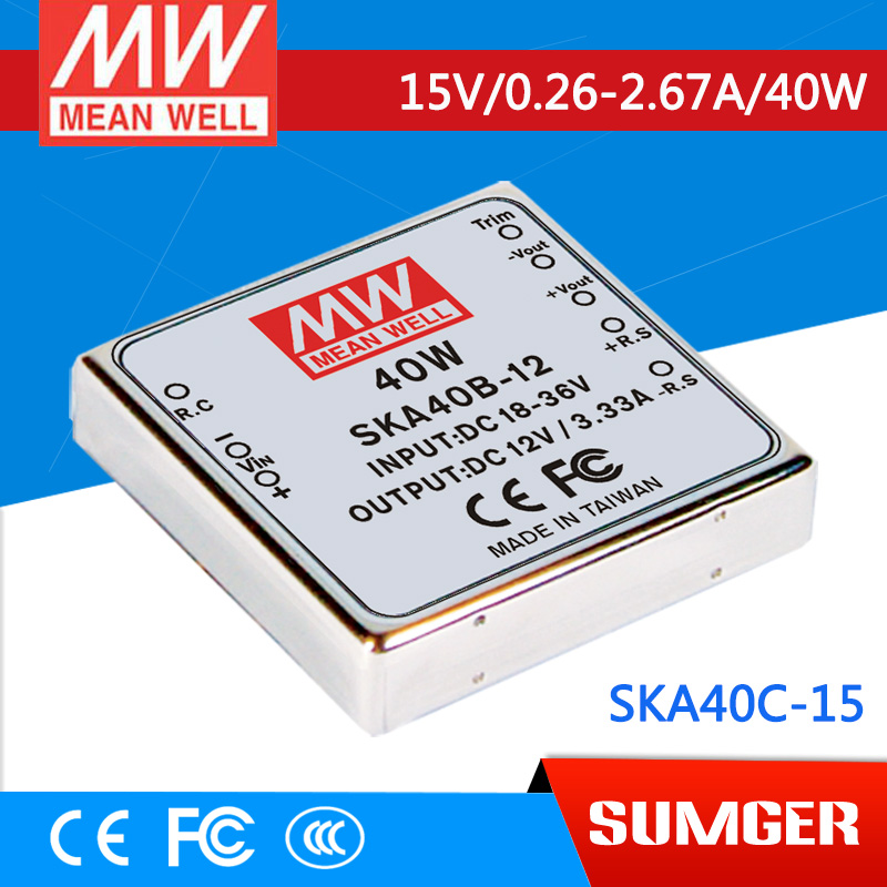 1MEAN WELL original SKA40C-15 15V 2.67A meanwell SKA40 15V 40W DC-DC Regulated Single Output Converter диски литые б у 13