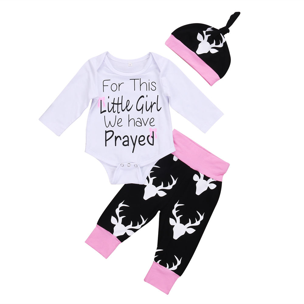 Infant Baby Clothes Sets White Romper Little Girls Tops+Deer Print Black Panelled Pants Hat 3pcs Bebe Kids Clothing Suits