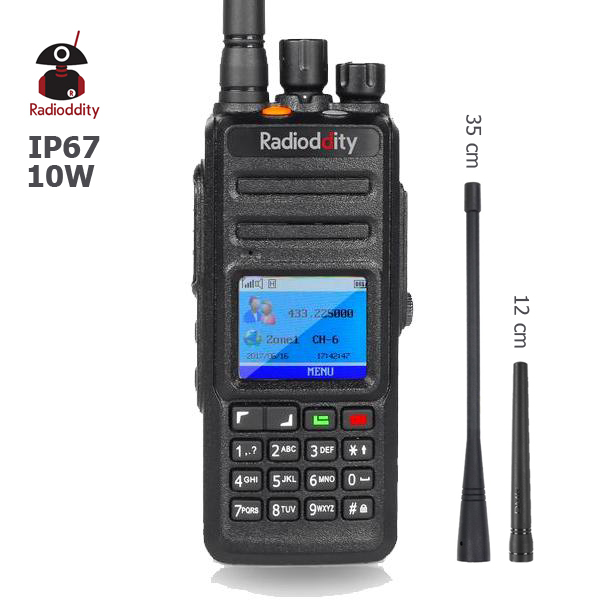 Radioddity GD-55 Plus Walkie Talkie UHF 400-470MHz 10W DMR Radio Digital/Analog Ham Radio Waterproof Two Way Radio 2 Antennas