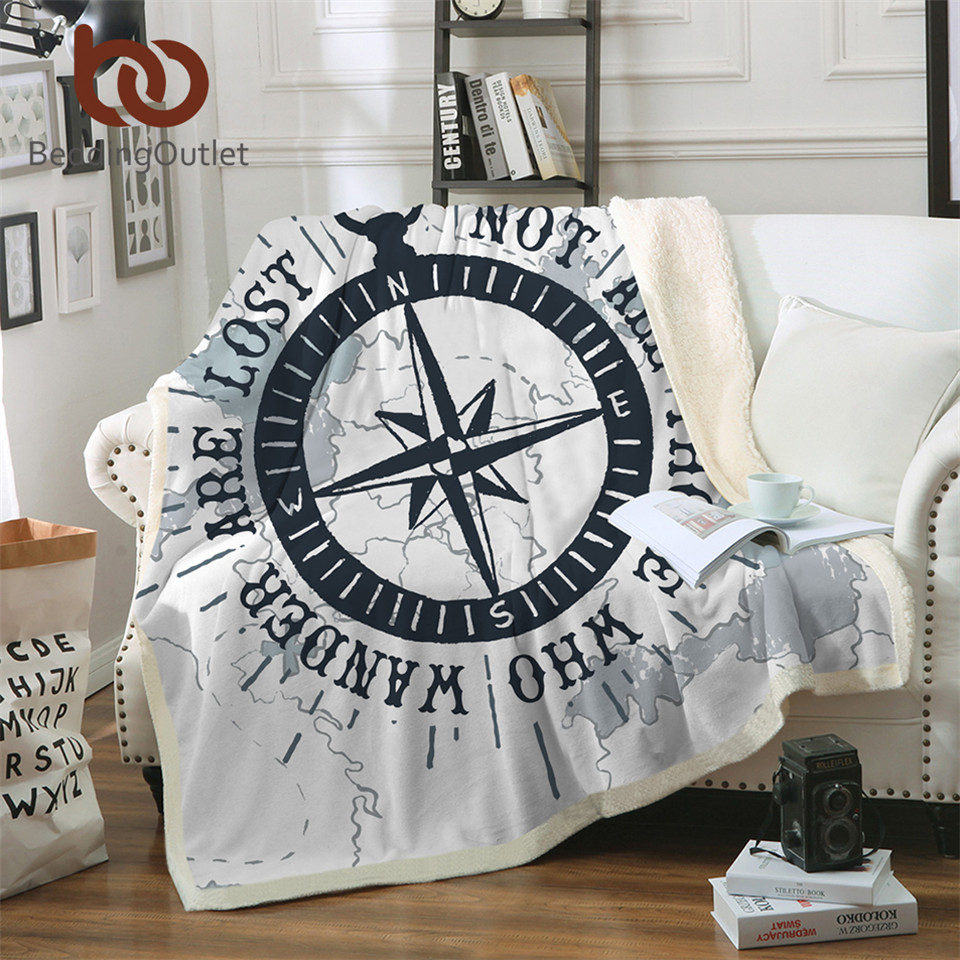 BeddingOutlet Compass Sherpa Throw Blanket Nautical Map Cool Bedspread Navy Blue and White Velvet Plush Bed Sofa Blanket 150x200