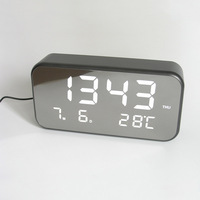 Clock Calendar Temperature With Charge Line English Version LED Alarm Clock Large Screen Digital Clock Electronic Desk Alarm