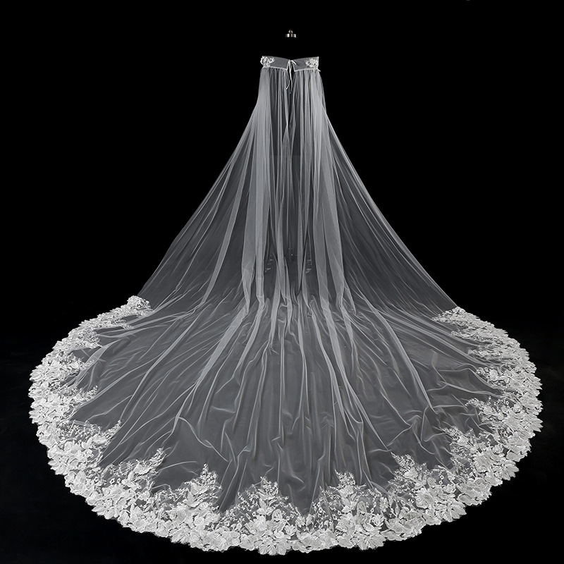 JaneVini luxe blanc Tulle bateau cou de mariage enveloppes voiles une couche Appliques bord perles cathédrale longue mariée Cape accessoires
