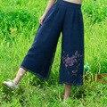 Women Zipper High Waist Pants Wide Leg Pants Casual Chiffon Embroidery Fake Two Trousers Spring Summer New