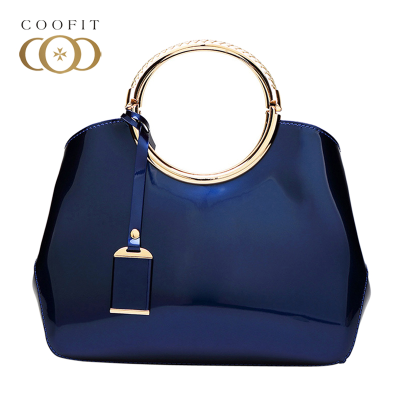 Coofit Female Elegant Ring Handbag Generous Golden Handle Shell Bag Womens Fixed Designer PU Shoulder Bags Evening Bags For Lady environmentally friendly pvc inflatable shell water floating row of a variety of swimming pearl shell swimming ring