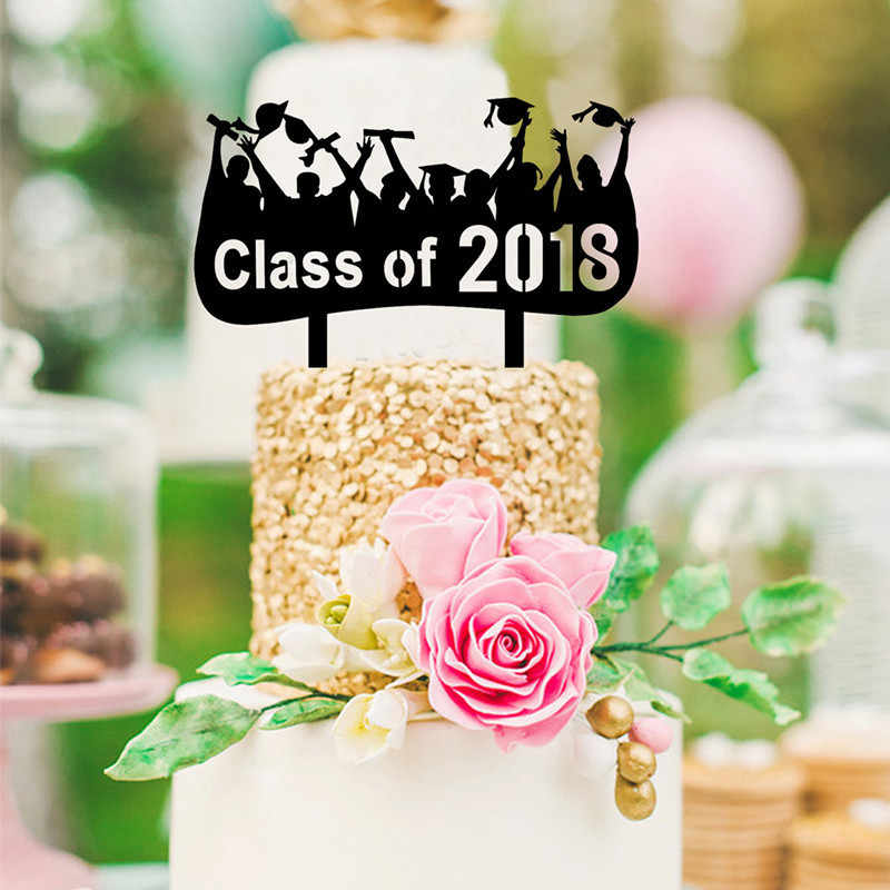 Wholesale Class of 2018 Black Cake Topper Graduation Party Cake Decoration  With Acrylic Cake Topper Party Supplies