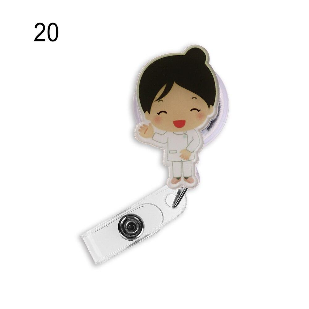 Cute Cartoon Mini Retractable Badge Reel Nurse Lanyards ID Name Card Badge Holder Clip Student Nurse Badge Holder