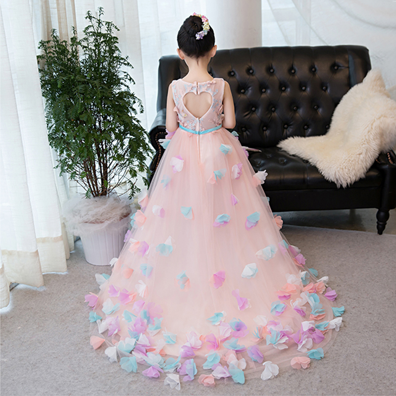 Pink Butterfly Flowers Princess Long Trailing Dress Kids Girls Dress for Wedding Birthday Costumes Show