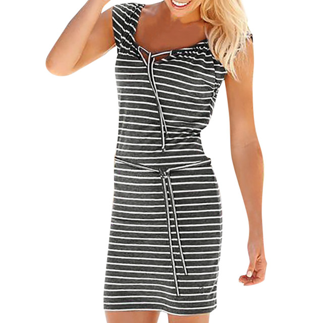 c110040d8f6 2018 Overalls for women dress Summer Round Neck Short Sleeve Striped es  Casual Elegant Bandage Beach Casual PAUGO3