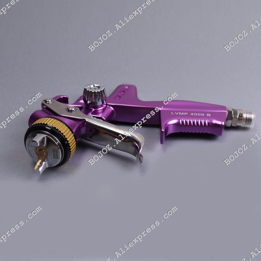 Free Shipping High quality Purple- Limited Edition 4000BLVMP Paint Spray Gun Gravity feed 1.3mm  w/t PVC 600ml cup for Car body