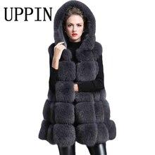Upin зимнее пальто женщин толстый жилет из искусственного меха с капюшоном жилет из меха лисы среднего длинный абзац слово большой маятник Gilet VESTE 5xl