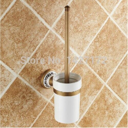 ᑐ古典浴室壁掛けアンティークブラスtolietブラシ付きホルダーセラミック