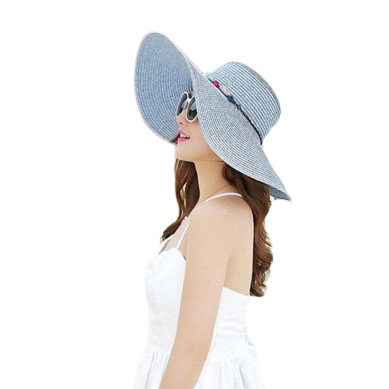 SUOGRY 2019 Hot Women Big Brim Sun Hats Colourful Colour Hand Hand - Aksesorë veshjesh - Foto 6