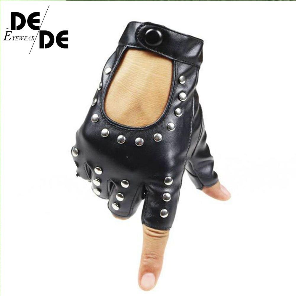Women Rivets PU Leather Gloves Semi-Finger Mens Rivet Belt PU Gloves Sexy Cutout Fingerless Gloves R007