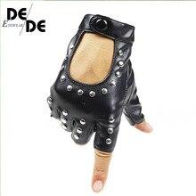 Women Rivets PU Leather Gloves Semi-Finger Mens Rivet Belt Sexy Cutout Fingerless R007