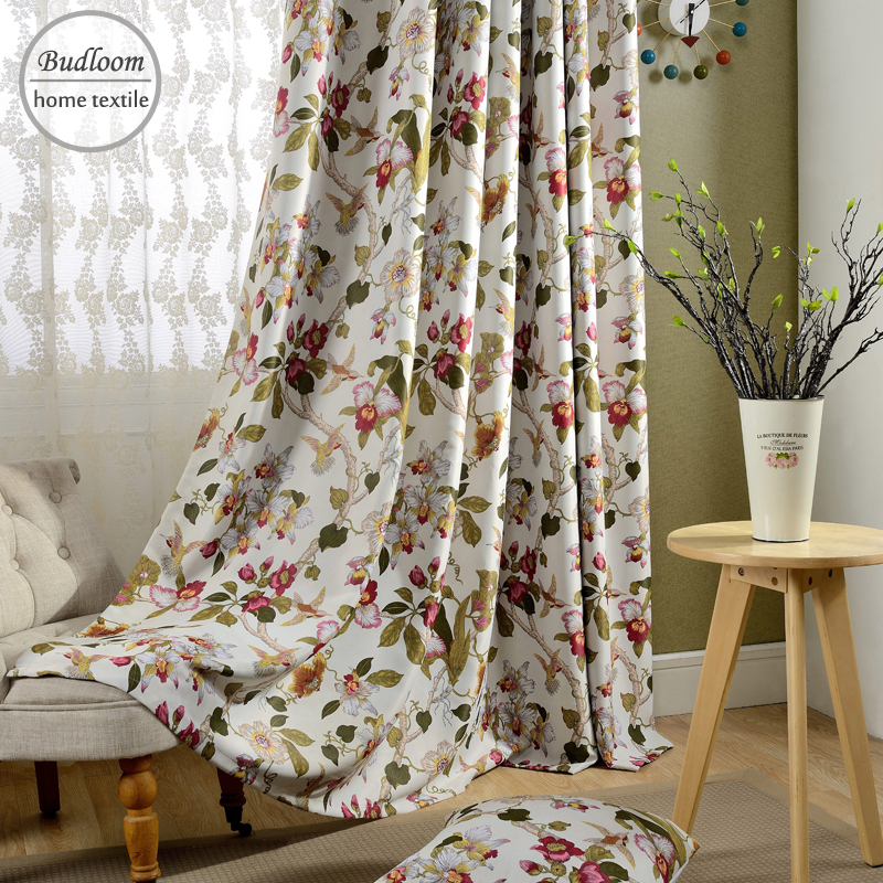US $11.2 20% OFF|New American style window drapes flowers blackout curtains  for living room beautiful curtain for girls room-in Curtains from Home & ...
