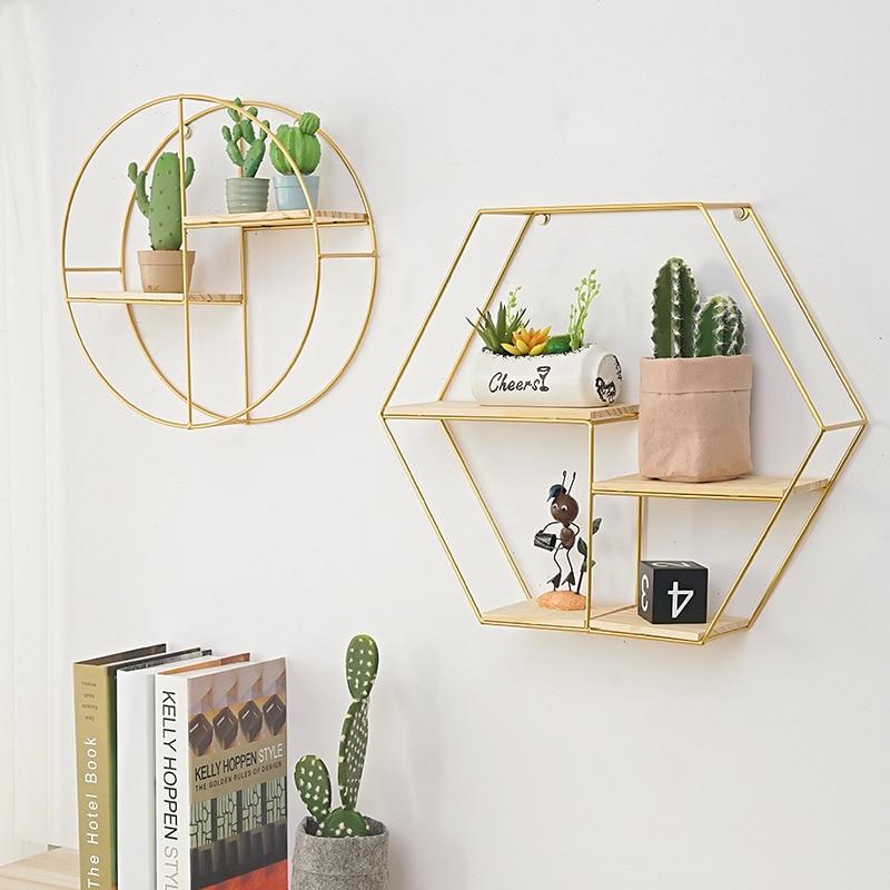 Black Storage Rack Shelf Home Living Room Decorative Shelf Golden Bookshelf Wrought Iron Hexagon Grid Wall Racks Background