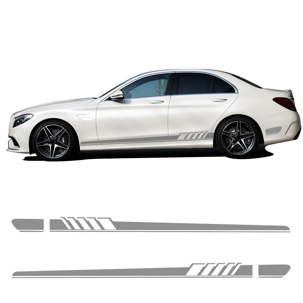 Silver grey car styling side stripe skirt stickers amg edition 507 body garland decal for mercedes benz c class w205 accessories