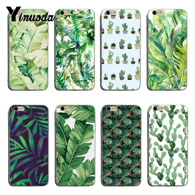 Yinuoda Tropical พืชแคคตัสใบกล้วย TPU ยางโทรศัพท์กรณีครอบคลุมสำหรับ iPhone 6 6 plus 7 7 Plus 8 8 plus X XS XR XSMax