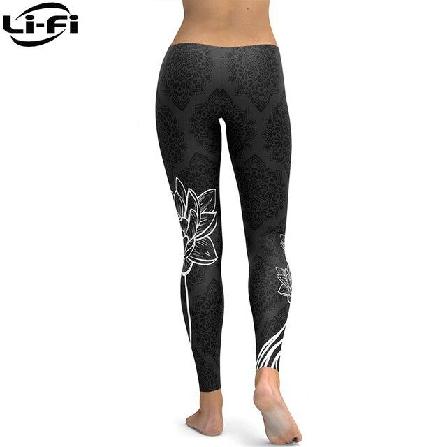 LI-FI Elastic Fitness Leggings Tights Slim Running Sportswear Sports Pants Women Yoga Pants Quick Drying Training Trousers 4