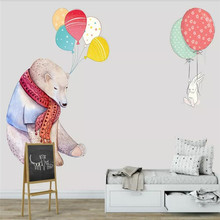 Custom wallpaper fashion hand-painted polar bear balloon bedroom wall - decorative waterproof material цена