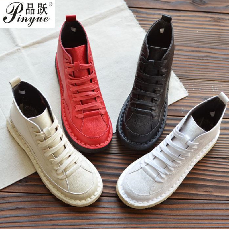 Japanese literary retro round head lacing women flat shoes comfortable soft bottom casual shoes booties single
