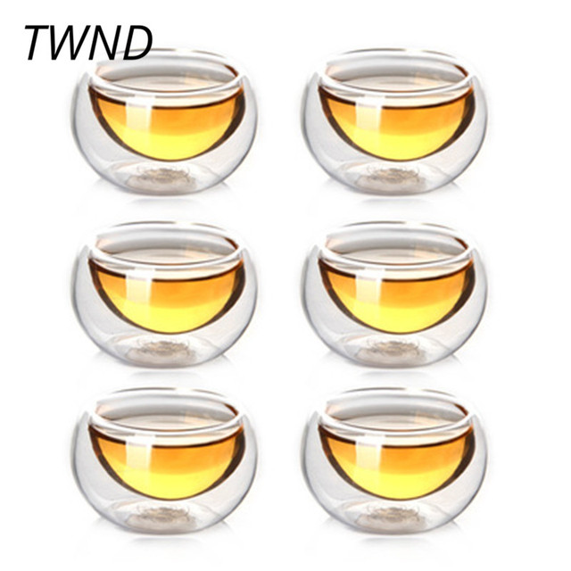 6 Pieces 50CC Double Wall Glass Tea Cusp Kung Fu Mugs Heat resistant Insulation Creative Drinkware 11.8