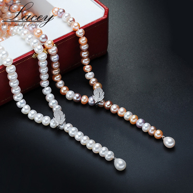 100% 925 silver Genuine Pearl Necklace, Natural Freshwater Pearl Long Necklace j