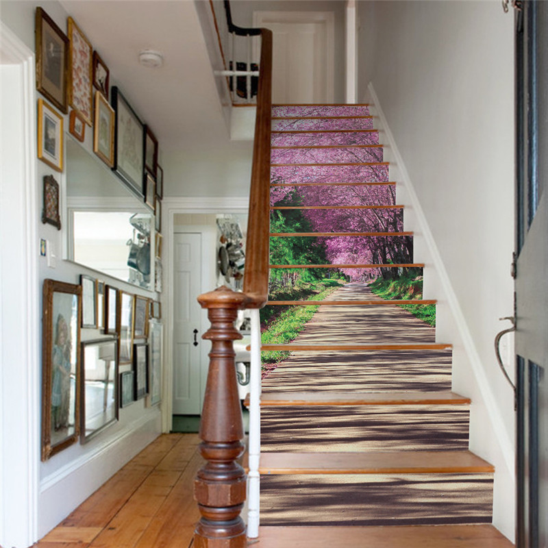 unidsset creativo diy d escalera pegatinas de colores patrn sakura sendero para casa