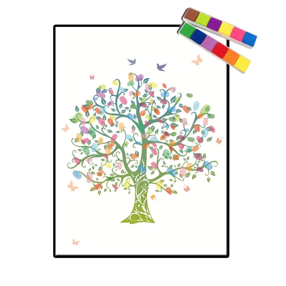 Us 612 30 Offkreative Fingerabdruck Diy Hochzeit Baum Gästebuch Für Taufe Baby Dusche Geburtstagsfeier Hochzeits Dekoration Unterschrift