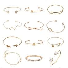 Новая мода, открытые очаровательные браслеты-манжеты и браслеты для женщин, простые треугольные сердечки, сердце, узел, лист, стрелка, браслеты, крошечные ювелирные изделия