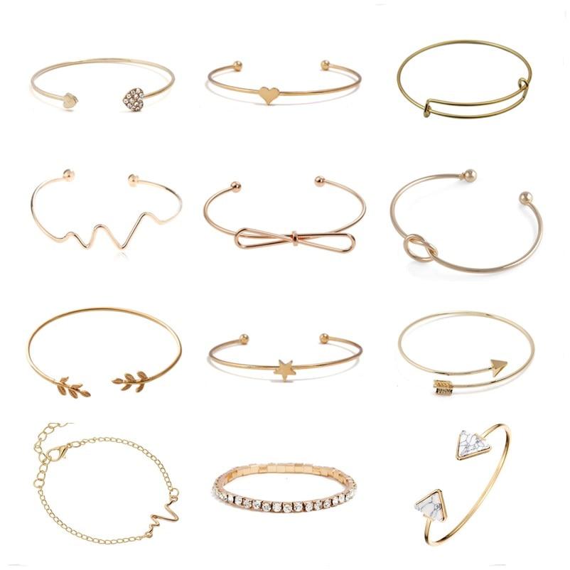 New Fashion Open Charm Cuff Bangles & Bracelets For Women Simple Triangle Heart Heart Knot Leaf Arrow Pulseras Tiny Jewelry
