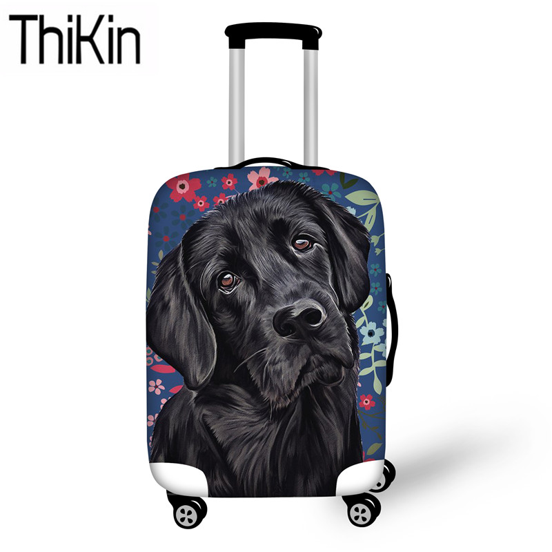 THIKIN Travel Accessories Black Labrador Printing Luggage Covers For Suitcase Travel Trolley Case Cover Dustproof Protective